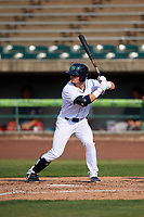 Lynchburg Hillcats left fielder Mitch Longo (10) at bat during the first game of a doubleheader against the Potomac Nationals on June 9, 2018 at Calvin Falwell Field in Lynchburg, Virginia.  Lynchburg defeated Potomac 5-3.  (Mike Janes/Four Seam Images)