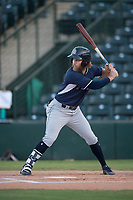 AZL Padres 2 second baseman River Stevens (9) at bat in a rehab appearance during an Arizona League game against the AZL Angels at Tempe Diablo Stadium on July 18, 2018 in Tempe, Arizona. The AZL Padres 2 defeated the AZL Angels 8-1. (Zachary Lucy/Four Seam Images)