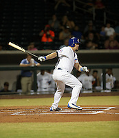 Kyle Schwarber plays with the Mesa Solar Sox in an Arizona Fall League game against the Salt River Rafters at Sloan Park on October 23, 2016 in Mesa, Arizona. Schwarber, a member of the Chicago Cubs, is recovering from a knee injury that caused him to miss much of the 2016 regular season, but may be ready to return to the Cubs roster in time for the World Series (Bill Mitchell)