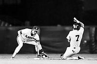 Gus Polidor of the California Angels during a 1988 season game at Anaheim Stadium,in Anaheim,California.(Larry Goren/Four Seam Images)