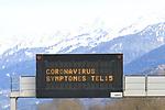 Coronavirus Covid-19 Epidemics in France Sars-Cov-2 on 28/02/2020, A post 'Coronavirus if Symptoms Call 15' on the motorway A43  between Lyon and Albertville