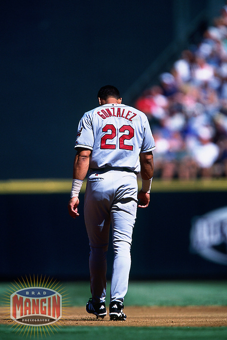 SEATTLE, WA - Juan Gonzalez of the Cleveland Indians in action during a game against the Seattle Mariners at Safeco Field in Seattle, Washington in 2001. Photo by Brad Mangin