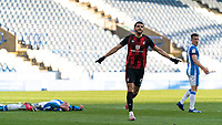 13th April 2021; The John Smiths Stadium, Huddersfield, Yorkshire, England; English Football League Championship Football, Huddersfield Town versus Bournemouth; Dominic Solanke of Bournemouth celebrates as he makes it 2-0 in the 45th minute