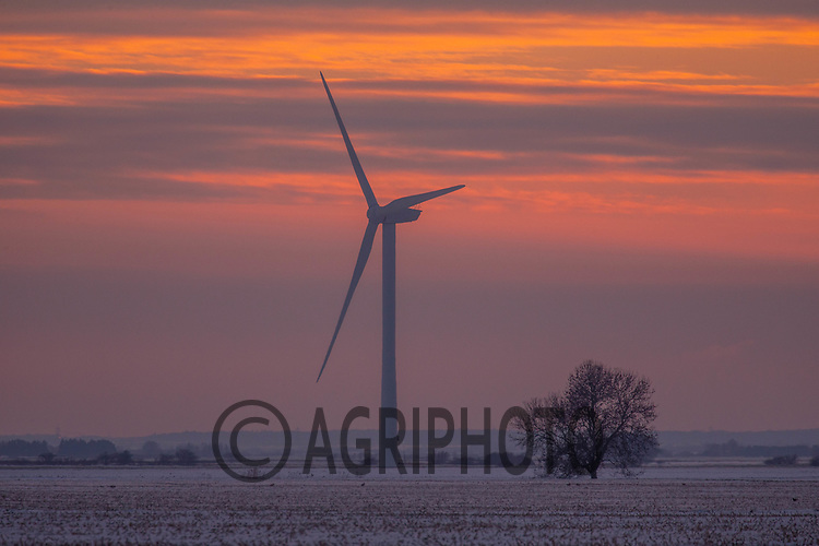 11-2-2021 Sunset in the snow covered Lincolnshire Fens<br /> ©Tim Scrivener Photographer 07850 303986<br />      ....Covering Agriculture In The UK....