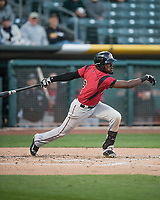 Orlando Calixte (2) of the Sacramento River Cats at bat against the Salt Lake Bees in Pacific Coast League action at Smith's Ballpark on April 13, 2017 in Salt Lake City, Utah.  Salt Lake defeated Sacramento 4-3. (Stephen Smith/Four Seam Images)