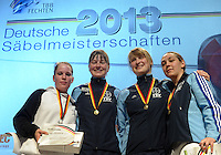 Deutsche Meisterschaft DM 2013 Fechten Säbel in Tauberbischofsheim - im Bild: Sieger Damensäbel - 1. Stefanie Kubissa (Dormagen, Mitte), 2. Alexandra Bujdoso (Koblenz, links), 3. Sibylle Klemm (Dormagen, rechts), 3. Davina Hirzmann (Dormagen, 2.v.r.). <br /> <br /> Foto: Norman Rembarz
