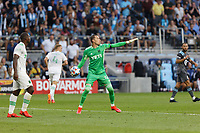 SAINT PAUL, MN - JUNE 23: Brad Stuver #41 of Austin FC tosses the ball during a game between Austin FC and Minnesota United FC at Allianz Field on June 23, 2021 in Saint Paul, Minnesota.