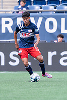 FOXBOROUGH, MA - JULY 4: Dennis Ramirez #37 of the New England Revolution II passes the ball to the midfield during a game between Greenville Triumph SC and New England Revolution II at Gillette Stadium on July 4, 2021 in Foxborough, Massachusetts.