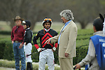 HOT SPRINGS, AR - FEBRUARY 20: Jockey Ricardo Santana, Jr. and trainer Steven Asmussen talking before the running of the Southwest Stakes at Oaklawn Park on February 20, 2017 in Hot Springs, Arkansas. (Photo by Justin Manning/Eclipse Sportswire/Getty Images)