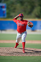 Philadelphia Phillies pitcher Juan Geraldo (69) during an Instructional League game against the Toronto Blue Jays on September 27, 2019 at Englebert Complex in Dunedin, Florida.  (Mike Janes/Four Seam Images)