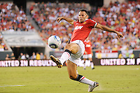 Ryan Giggs (11) of Manchester United stretches for a pass during an international friendly between Manchester United (EPL) and the Philadelphia Union (MLS) at Lincoln Financial Field in Philadelphia, PA, on July 21, 2010.