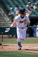 Sacramento RiverCats center fielder Steven Duggar (14) starts down the first base line during a Pacific Coast League against the Tacoma Rainiers at Raley Field on May 15, 2018 in Sacramento, California. Tacoma defeated Sacramento 8-5. (Zachary Lucy/Four Seam Images)