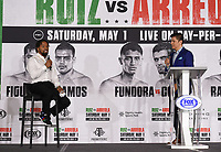 LOS ANGELES, CA - APRIL 29: (L-R) Shawn Porter and Ray Flores attend the undercard press conference for the Andy Ruiz Jr. vs Chris Arreola Fox Sports PBC Pay-Per-View in Los Angeles, California on April 29, 2021. The PPV fight is on May 1, 2021 at Dignity Health Sports Park in Carson, CA. (Photo by Frank Micelotta/Fox Sports/PictureGroup)