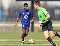 BRADENTON, FL - JANUARY 23: Andres Perea moves with the ball during a training session at IMG Academy on January 23, 2021 in Bradenton, Florida.
