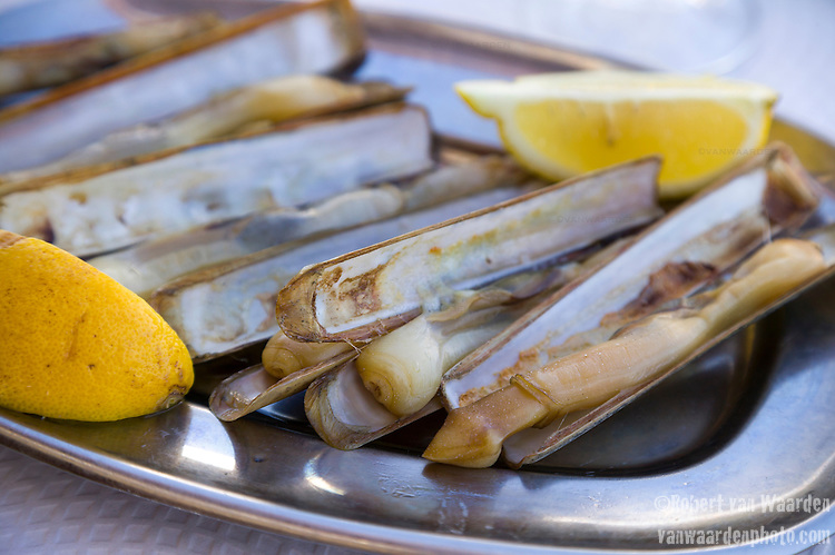 Bar clams on a plate with lemon ready to eat at a restaurant near Faro in the Algarve region of Portugal.