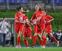 \Woluwe's Kenza Vrithof (9) (L) celebrate Woluwe's Marie Bougard (10) (R) for her goal during a female soccer game between FC Femina WS Woluwe and Standard Femina de Liege on the fourth match day of the 2020 - 2021 season of Belgian Womens Super League , Friday 8th of October 2020  in Liege , Belgium . PHOTO SPORTPIX.BE | SPP | SEVIL OKTEM