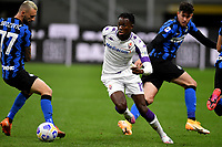 Marcelo Brozovic of FC Internazionale , Christian Kouame of AC Fiorentina and Alessandro Bastoni of FC Internazionale compete for the ball during the Serie A football match between FC Internazionale and ACF Fiorentina at stadio San Siro in Milano (Italy), September 26th, 2020. Photo Andrea Staccioli / Insidefoto