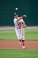 Peoria Chiefs third baseman Danny Hudzina (26) throws to first base during a game against the West Michigan Whitecaps on May 9, 2017 at Dozer Park in Peoria, Illinois.  Peoria defeated West Michigan 3-1.  (Mike Janes/Four Seam Images)
