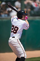 San Jose Giants center fielder Bryce Johnson (28) on deck during a California League game against the Lancaster JetHawks at San Jose Municipal Stadium on May 13, 2018 in San Jose, California. San Jose defeated Lancaster 3-0. (Zachary Lucy/Four Seam Images)