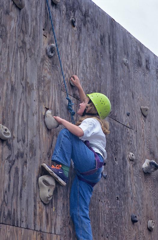 Fourth grade student on climbing wall. Hancock Field Station. Oregon