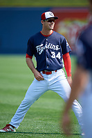 Reading Fightin Phils Cord Sandberg (34) warms up before the first game of a doubleheader against the Portland Sea Dogs on May 15, 2018 at FirstEnergy Stadium in Reading, Pennsylvania.  Portland defeated Reading 8-4.  (Mike Janes/Four Seam Images)