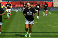 BRIDGEVIEW, IL - JULY 18: Amber Brooks #2 of the OL Reign warms up before a game between OL Reign and Chicago Red Stars at SeatGeek Stadium on July 18, 2021 in Bridgeview, Illinois.