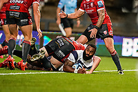 21st August 2020; Kingsholm Stadium, Gloucester, Gloucestershire, England; English Premiership Rugby, Gloucester versus Bristol Bears; Semi Radradra of Bristol scores a try in the 30th minute for 24-7