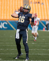 Pitt quarterback Chad Voytik. The Pitt Panthers football team defeated the Youngstown State Penguins 45-37 on Saturday, September 5, 2015 at Heinz Field, Pittsburgh, Pennsylvania.