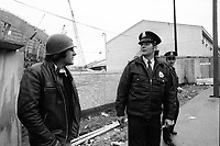 FILE PHOTO - Olympic stadium union worker go on strike, October 20, 1975.<br /> <br /> Photo : Alain Renaud<br />  - Agence Quebec Presse