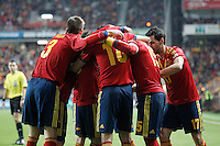 Spain's players celebrate goal during international match of the qualifiers for the FIFA World Cup Brazil 2014.March 22,2013.(ALTERPHOTOS/Acero)