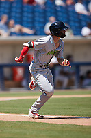 Petey Halpin (29) of the Lynchburg Hillcats hustles down the first base line against the Kannapolis Cannon Ballers at Atrium Health Ballpark on August 29, 2021 in Kannapolis, North Carolina. (Brian Westerholt/Four Seam Images)