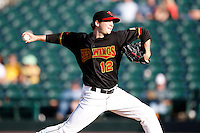 June 21, 2009:  Starting Pitcher Kevin Mulvey of the Rochester Red Wings delivers a pitch during a game at Frontier Field in Rochester, NY.  The Rochester Red Wings are the International League Triple-A affiliate of the Minnesota Twins.  Photo by:  Mike Janes/Four Seam Images
