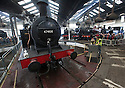 """25/09/15<br /> <br /> Loco 47406 Jinty on the turntable.<br /> <br /> Steam trains use the turntable in Britain's only remaining operational roundhouse at Barrow Hill. The three day event  """"Barrow Hill '65 – the London Midland Region Steam Gala of the Year"""" which started today, marks fifty years since the last regular steam train left the LMS (London Midland and Scottish) yard near Chesterfield, Derbyshire. The locomotives on show for the steam gala weekend are a mix of passenger and freight steam engines, all looking and numbered as they would have been in September 1965. Main line locomotives are still serviced in the depot today.<br /> <br /> All Rights Reserved: F Stop Press Ltd. +44(0)1335 418365   +44 (0)7765 242650 www.fstoppress.com"""