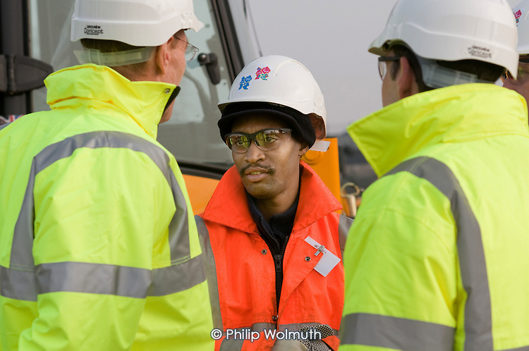 Curdy Nelson, who has completed a four-day training course as a Slinger Signaller (Banksman) at the Plant Training Centre on the Oympic Park site in Stratford.
