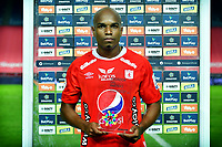 CALI-COLOMBIA, 20-09-2020: Nicolas Giraldo de America de Cali, jugador de la fecha, durante partido entre America de Cali y Atletico Bucaramanga de la fecha 9 por la Liga BetPlay DIMAYOR I 2020 jugado en el estadio Pascual Guerrero de la ciudad de Cali. / Nicolas Giraldo of America de Cali,  player of the game during a match between America de Cali and Atletico Bucaramanga of the 9th date for the BetPlay DIMAYOR Leguaje I 2020 played at the Pascual Guerrero stadium in Cali City. /Photo: VizzorImage / Luis Ramirez / Staff.