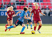 HARRISON, NJ - MARCH 08: Rachel Daly #2 of England dribbles during a game between England and Japan at Red Bull Arena on March 08, 2020 in Harrison, New Jersey.