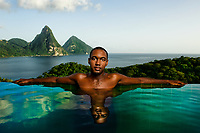 Man in Swimming Pool, St. Lucia, 2009