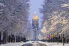 January 2, 2021; Notre Dame Avenue after a snowfall (Photo by Matt Cashore/University of Notre Dame)