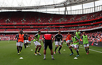 Pictured: Swansea City players during the warm up. Saturday 10 September 2011<br />