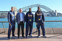 SYDNEY, AUSTRALIA - August 23, 2016:  Cal Bears Football team Australia trip.  Davis Webb, Sonny Dykes, Vic Enwere, and DeVante Wilson