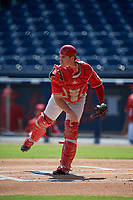 Washington Nationals catcher KJ Harrison (4) throws to second base during an Instructional League game against the Miami Marlins on September 26, 2019 at FITTEAM Ballpark of The Palm Beaches in Palm Beach, Florida.  (Mike Janes/Four Seam Images)