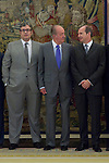 12.09,2012. King Juan Carlos I of Spain attend the delivery of 'XXIII FIES Journalism Award', awarded to Juan Manuel de Prada at the Zarzuela Palace. In the image (L-R) Juan Manuel de Prada,  King Juan Carlos and Rafael Guardans  (President of FIES). (Alterphotos/Marta Gonzalez)