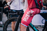 Maria Novolodskaya (RUS) showing signs of an in-race crash after finishing<br /> <br /> WOMEN ELITE INDIVIDUAL TIME TRIAL<br /> Hall-Wattens to Innsbruck: 27.8 km<br /> <br /> UCI 2018 Road World Championships<br /> Innsbruck - Tirol / Austria