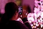 A woman takes a picture of the illuminations at Shinjuku Terrace City on November 16, 2017, Tokyo, Japan. Shinjuku Terrace City Illuminations are seen around Odakyu Line Shinjuku Station. This year marks the 12th year of the illumination event, which can be enjoyed until February 22, 2018. (Photo by Rodrigo Reyes Marin/AFLO)