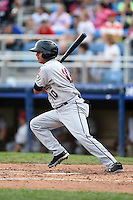 Mahoning Valley Scrappers third baseman Yonathan Mendoza (10) at bat during a game against the Jamestown Jammers on June 16, 2014 at Russell Diethrick Park in Jamestown, New York.  Mahoning Valley defeated Jamestown 2-1.  (Mike Janes/Four Seam Images)