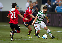 July 16, 2010 Gabriel Obertan No. 26 of Manchester United and Shaun Maloney No. 13 of Celtic FC during an international friendly between Manchester United and Celtic FC at the Rogers Centre in Toronto.