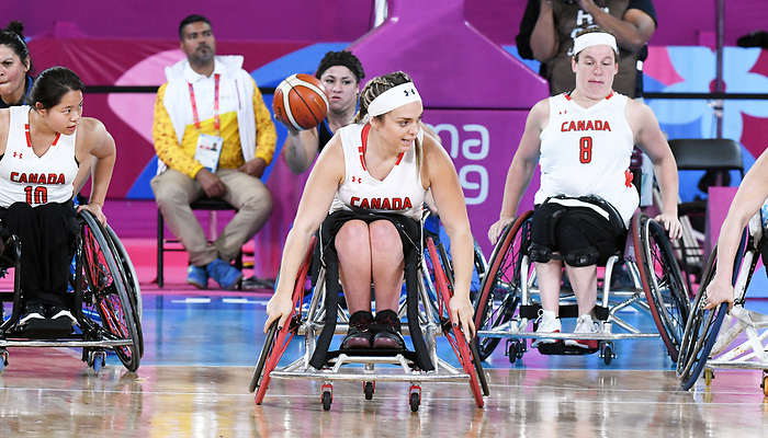 Maude Jacques, Lima 2019 - Wheelchair Basketball // Basketball en fauteuil roulant.<br /> Women's wheelchair basketball competes against Argentina // Le basketball en fauteuil roulant féminin contre Argentine. 25/08/2019.