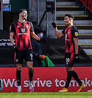 13th March 2021; Vitality Stadium, Bournemouth, Dorset, England; English Football League Championship Football, Bournemouth Athletic versus Barnsley; Dominic Solanke of Bournemouth celebrates with Junior Stanislas after scoring in the 45th minute 2-1