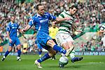 Celtic v St Johnstone....01.04.12   SPL.Lee Crotft and Joe Ledley.Picture by Graeme Hart..Copyright Perthshire Picture Agency.Tel: 01738 623350  Mobile: 07990 594431