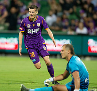 27th March 2021; HBF Park, Perth, Western Australia, Australia; A League Football, Perth Glory versus Newcastle Jets; Cairn Bramwell of Perth Glory celebrates scoring in the 17th minute to put Glory up 1-0